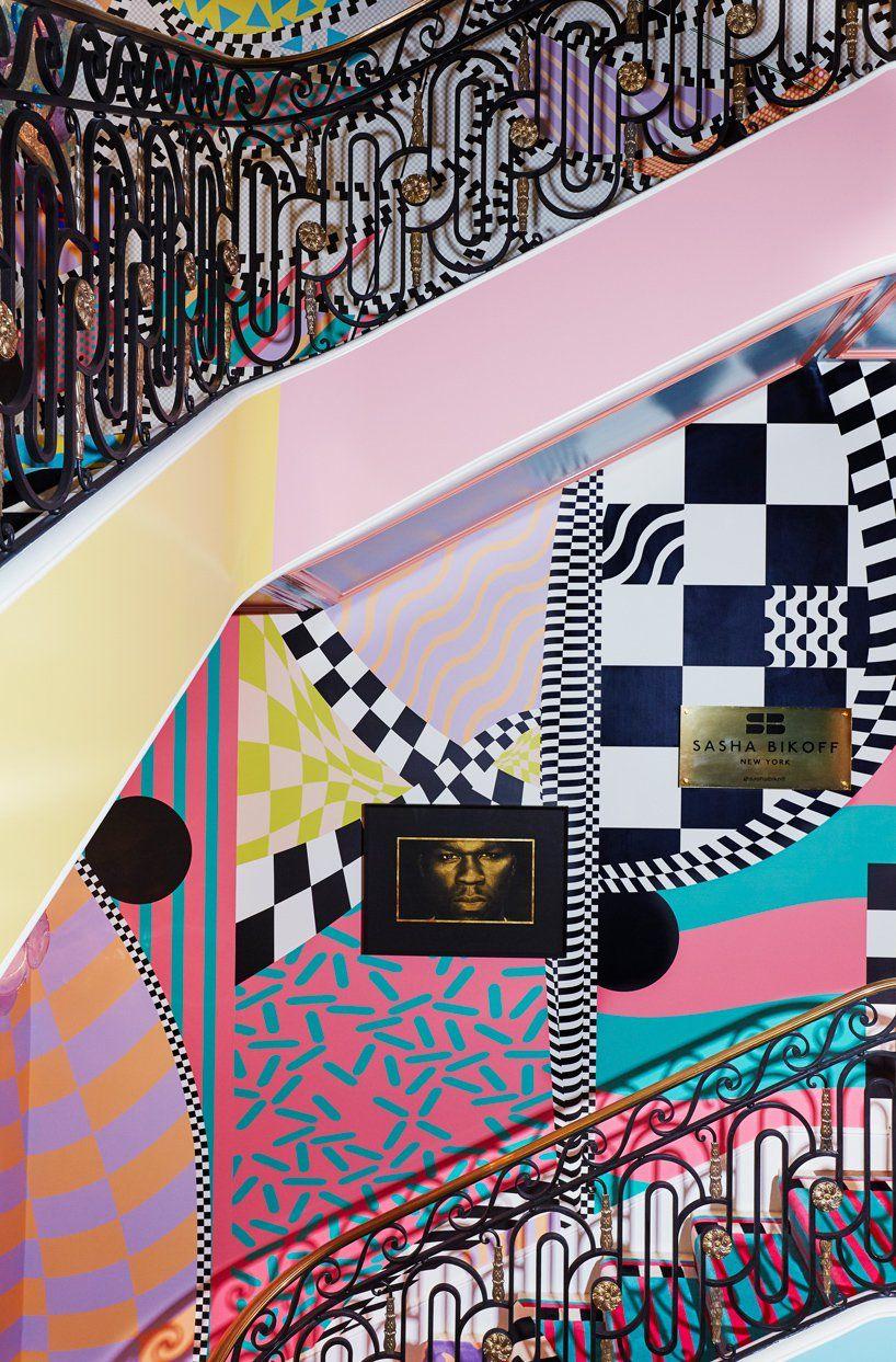 Sasha Bikoff Merges Rococo With Memphis In Her Bold New York Staircase Stair Art Memphis Design Interior Stunning Interior Design
