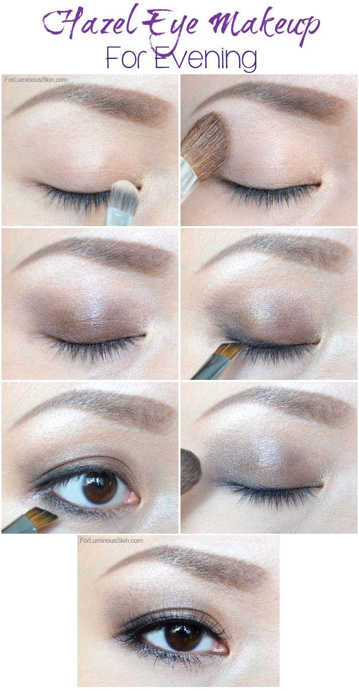 elegant hazel eyes evening makeup tutorial, helen helz