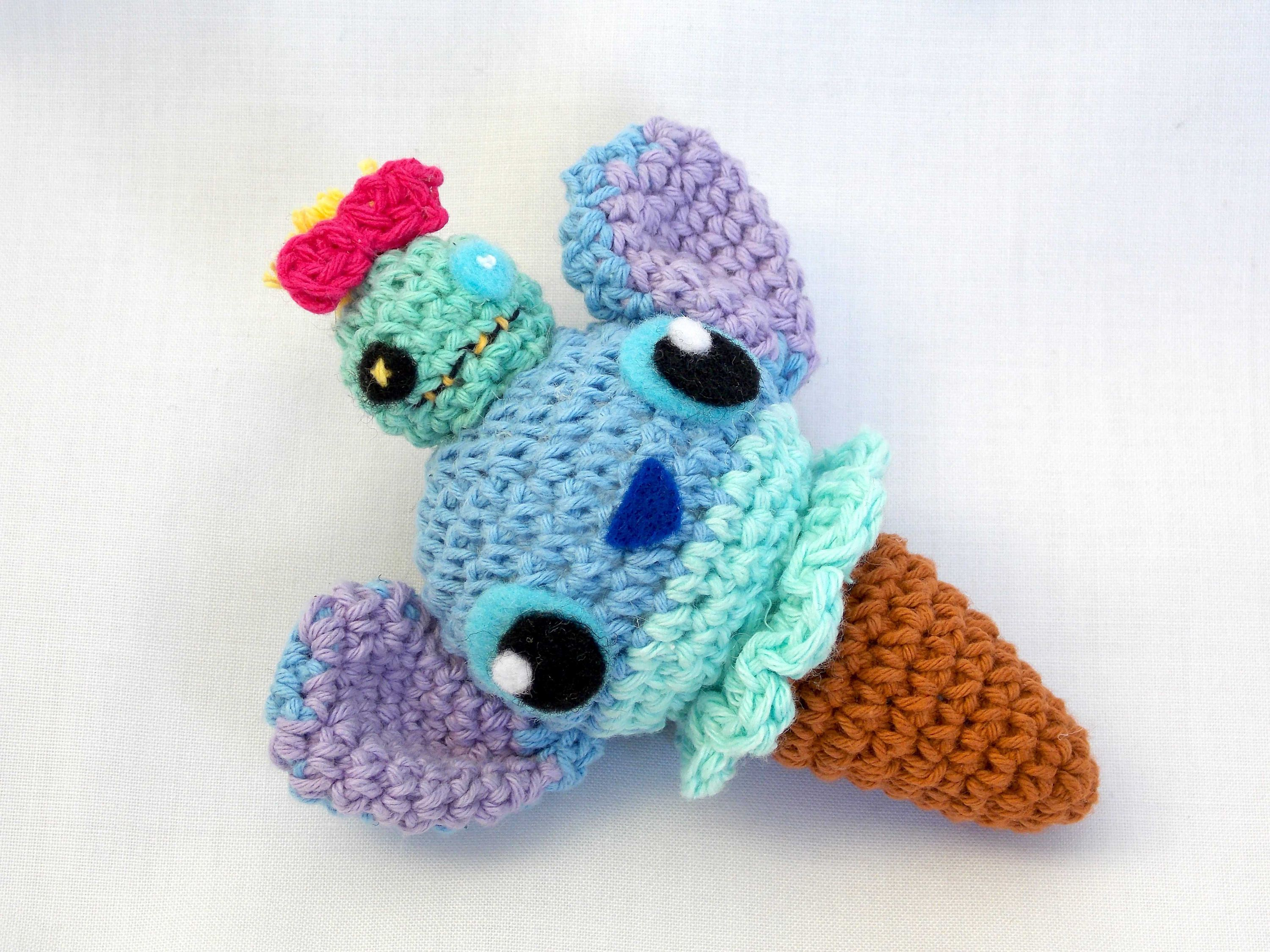 Amigurumi Crochet Keychain : Stitch and scrump ice cone plush stitch and scrump amigurumi