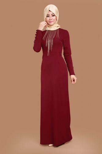 Y G S Kolyeli Kalem Abiye Elbise Ygs5073 Bordo 1 Mutevazi Kiyafetler Aksamustu Giysileri Elbise