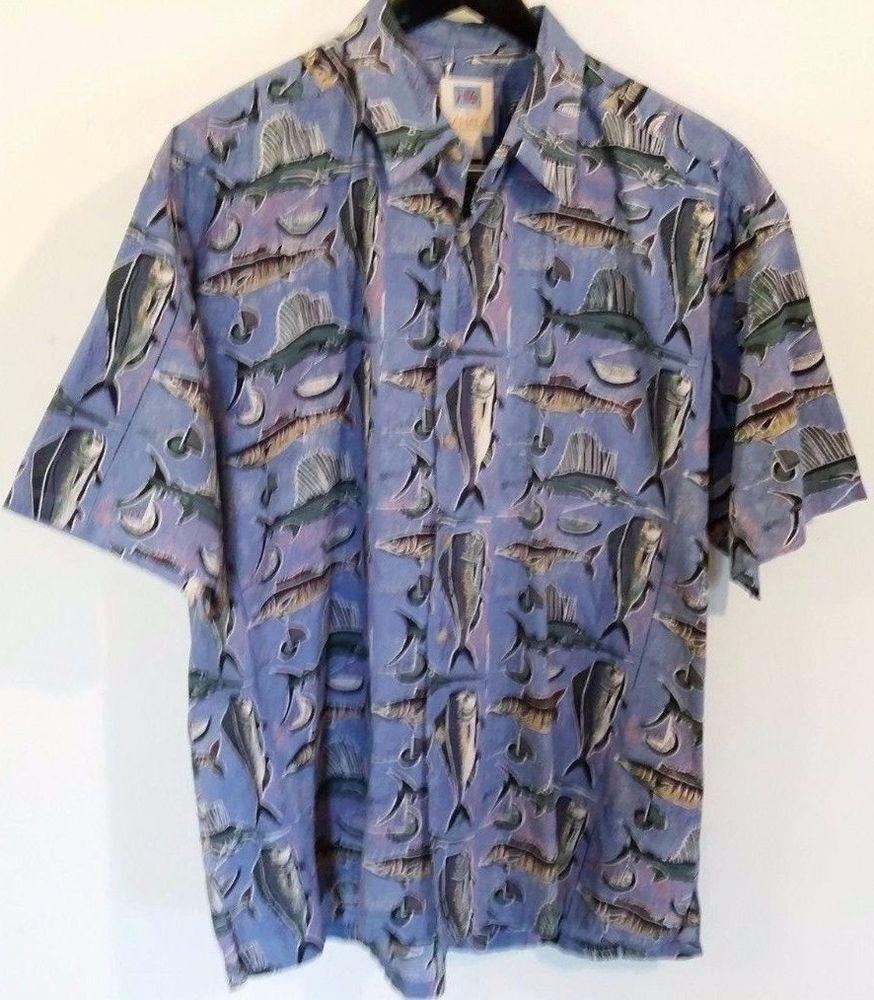 Avi Collection By Kahala Hawaiian Shirt Hawaii Hand Crafted 2XL XXL Sword Blue #Kahala #Hawaiian