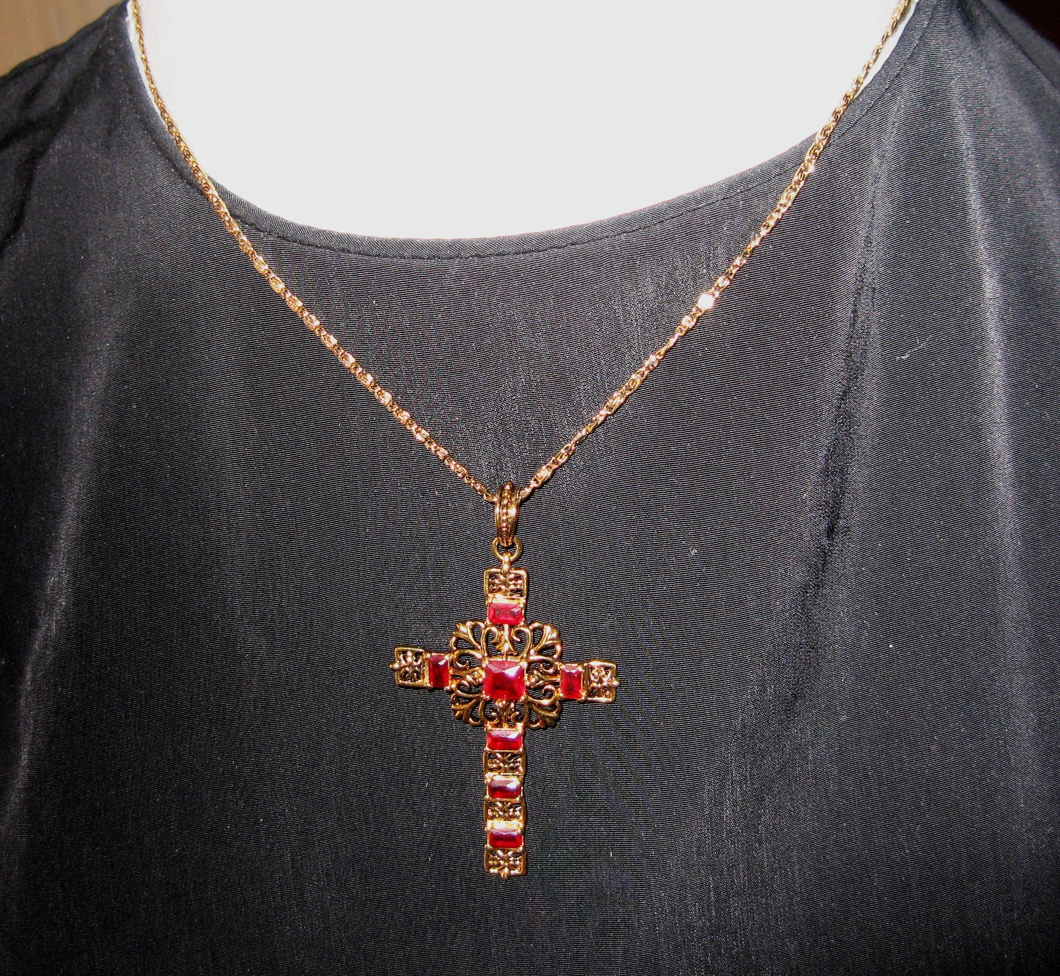 Silver Crosses with Colorful Stones Sweater Clips