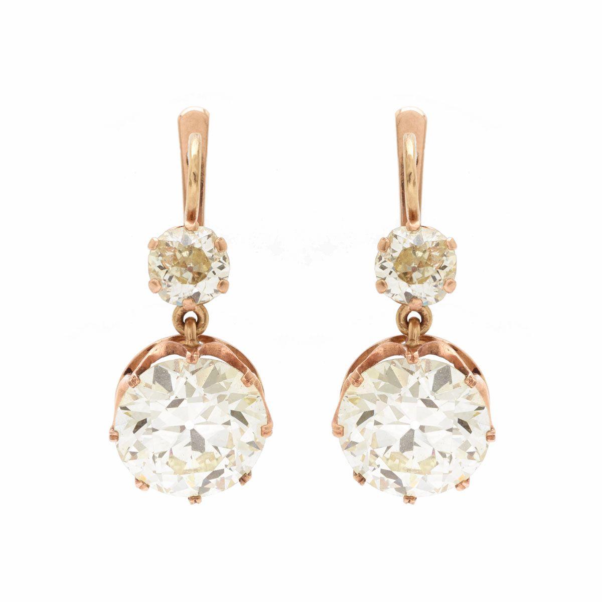 Victorian European Cut Diamond Rose Gold Drop Earrings Las Spectacular 14kt Era
