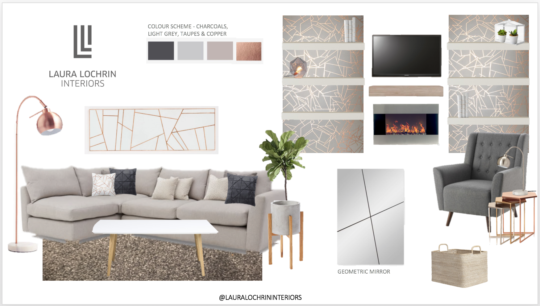 Living room. Grey, gray, copper, blush. Rose gold living room ...