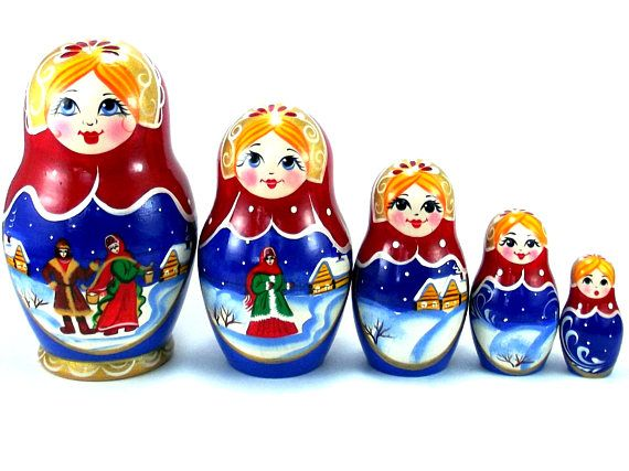 Christmas Nesting Dolls Russian Matryoshka Babushka Stacking Wooden toys 5 pcs