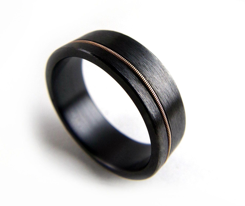 black zirconium ring guitar string ring black metal ring guitar string jewelry - Black Wedding Ring