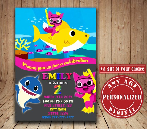 Baby Shark Birthday Invitation, Personalized Baby Shark song