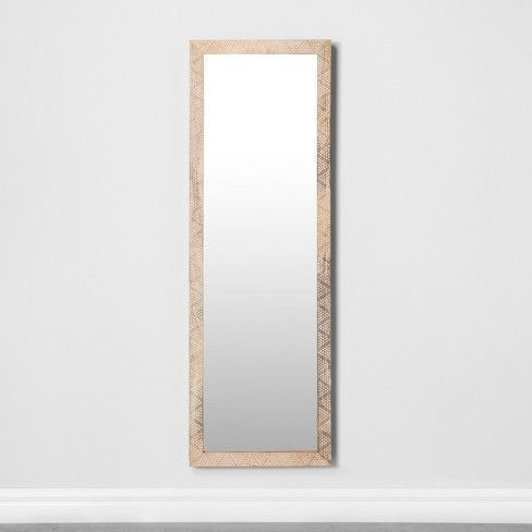 Carved Dot Natural Wood Floor Mirror Opalhouse 79th