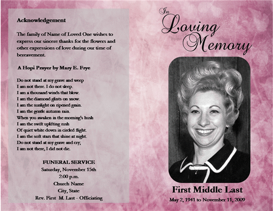Free Funeral Program Templates – Free Funeral Programs