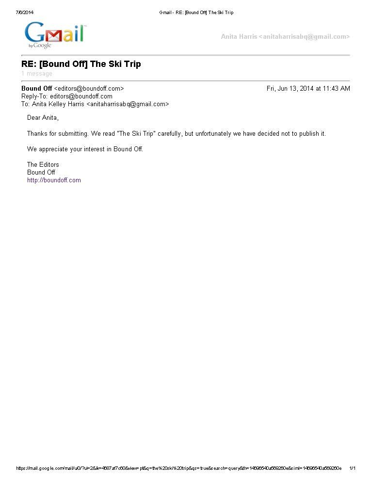 Bound Off - The Ski Trip Writing - Rejection Letters Pinterest - rejection letter sample