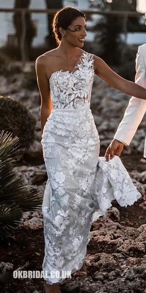 Photo of Charming One Shoulder Backless Lace Mermaid Sleeveless Wedding Dresses, FC2066