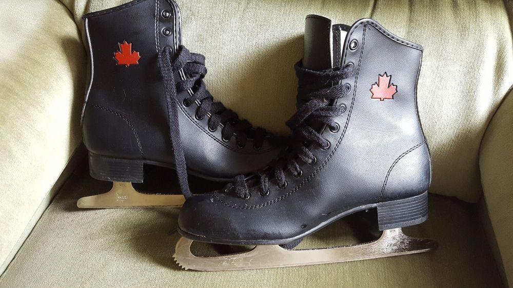 Vintage Youth? Mens? SLM Canada Red Maple Leaf Black Ice Figure Skates 6? #SLMCanada