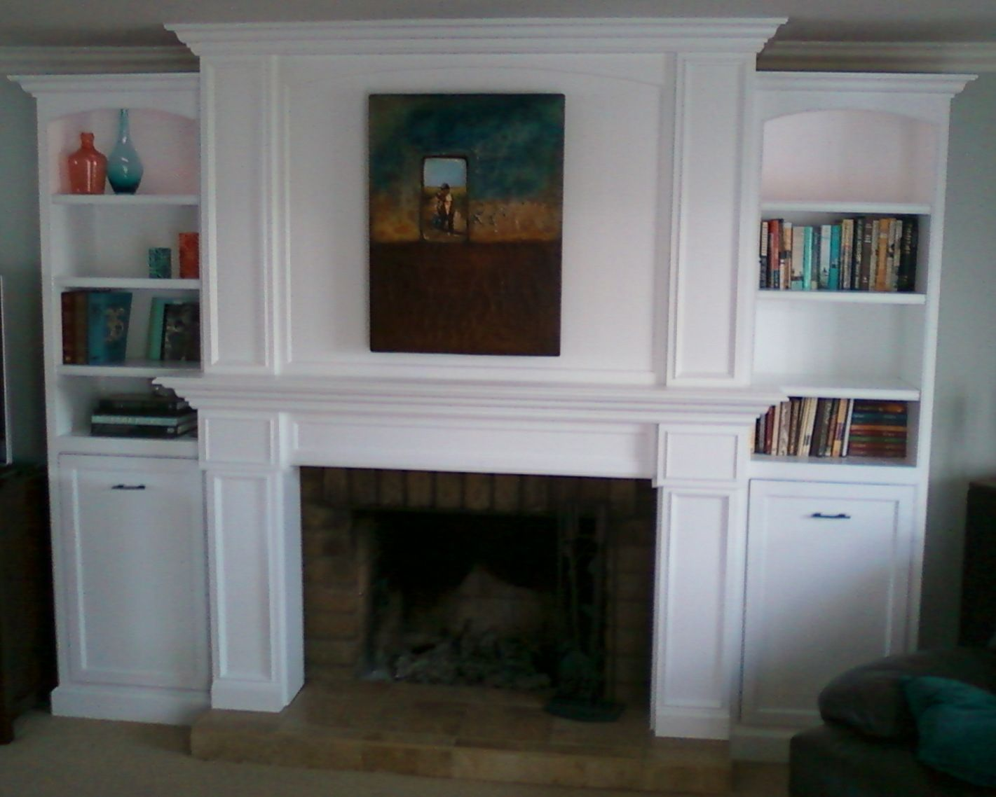 Architecture Fireplace Mantel Bookshelves Hand Made Bookcase By Santini Custom Furniture Custommade Com 11 Mid Century