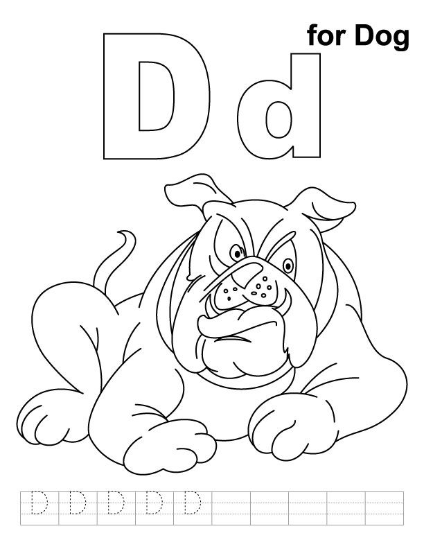 D For Dog Coloring Page With Handwriting Practice Kids