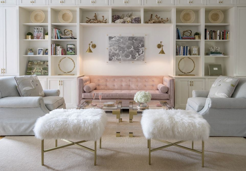 Bright White Living Room With Baby Pink Decor And Baby