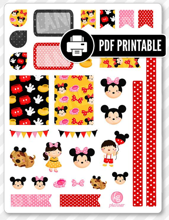 """One 8.5"""" x 11"""" PDF PRINTABLE Mickey/Minnie decorating kit stickers for use in your Erin Condren life planner, Filofax, Plum Paper, etc!  ‣ PRINTABLE/DOWNLOADABLE FILE ONLY. Nothing will be shipped. ‣ FOR PERSONAL USE ONLY. COMMERCIAL USE OF ANY KIND IS PROHIBITED.  •••••••• F O L L O W •••••••• f: www.facebook.com/kgplanner i: www.instagram.com/kgplanner t: www.twitter.com/kimgrish  •••••••• A R T W O R K •••••••• Artwork under free commercial use with attribution: © Freepik.com, ©…"""