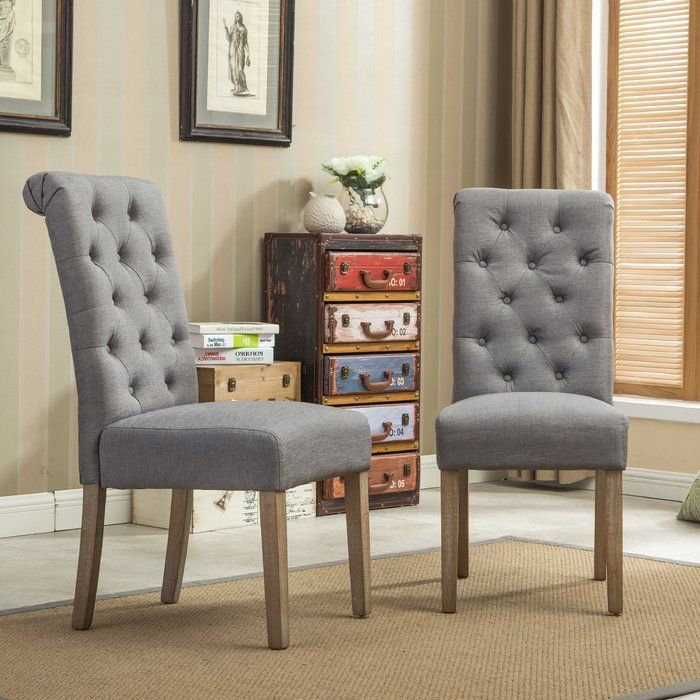 kenleigh solid wood button tufted side chair welcome home rh pinterest at