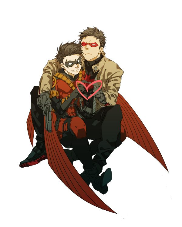 Tim Drake and Jason Todd - Brotherly love. LOL! Jason looks like he's just putting up with Tim.