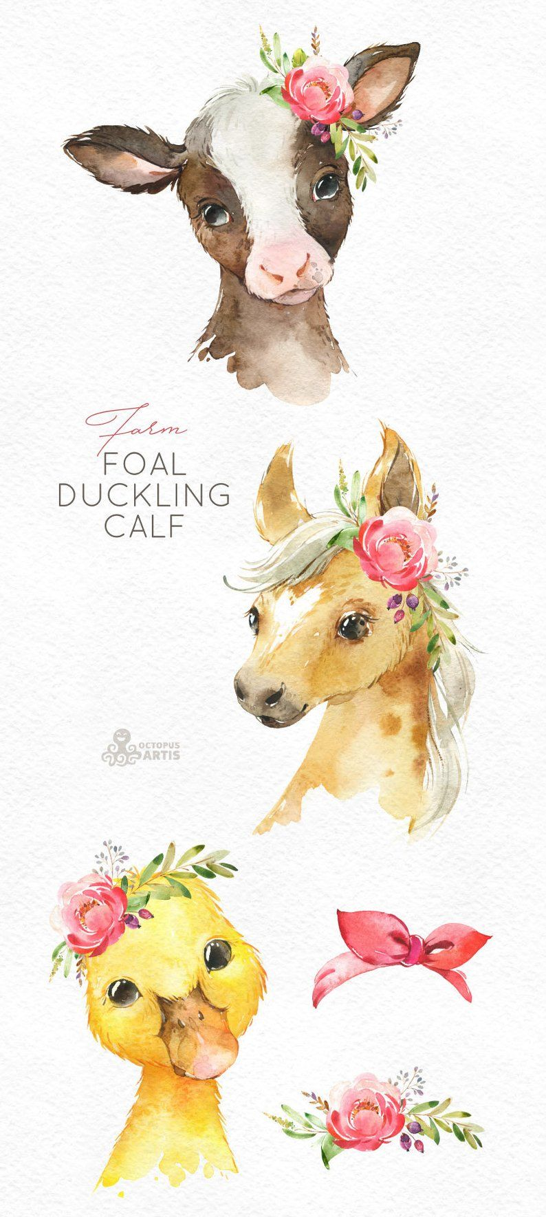 Farm Foal Calf Duckling. Watercolor little animals clipart, baby cow horse duck, country, flowers, kids, nursery art, nature, baby-shower