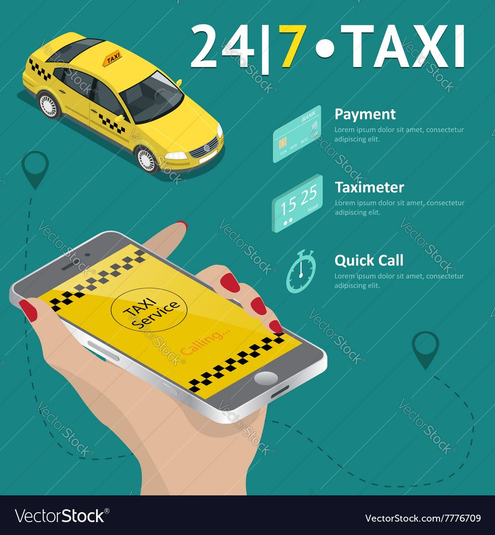 Taxi Service Taxi Mobile App Template Set Vector Image Ad