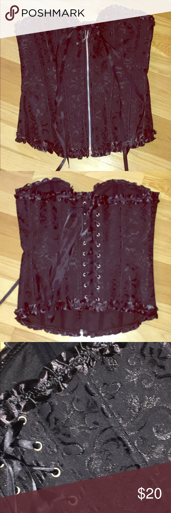 Black ADORE ME Corset Black ADORE ME Corset size Large, however I find it to be more of a Small for. Never worn as it didn't fit me, way too small. Zips up the front, laces in the back with pretty patten on it. Intimates & Sleepwear Shapewear