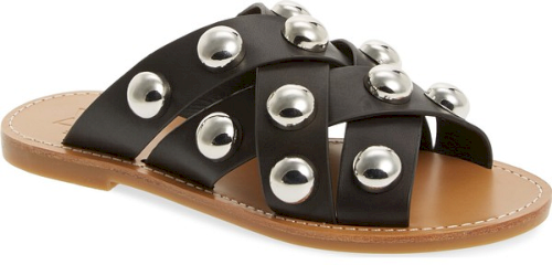 92cc0e47a8ab Marc Fisher Ltd Raidan Studded Sandal in Black. Rounded gleaming studs  stand out on the woven leather straps of a versatile slide sandal.