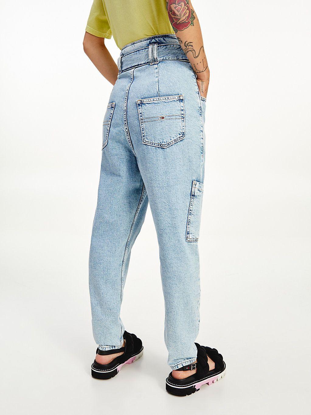 Tapered Mom Jeans mit ultrahohem Paperbag Bund   DENIM   Tommy ...