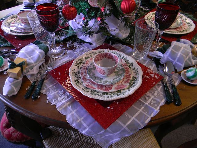 Christmas Color History of Red & Green with a Transferware Tablescape