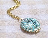 Vintage Aqua Turquoise Patina Brass Filigree Bird Nest  Locket Gold Plated Chain Necklace