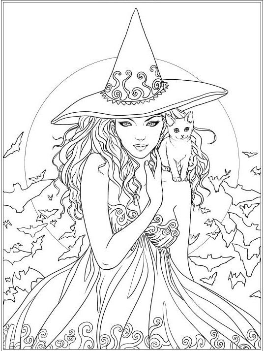 Witch And Cat Coloring Page