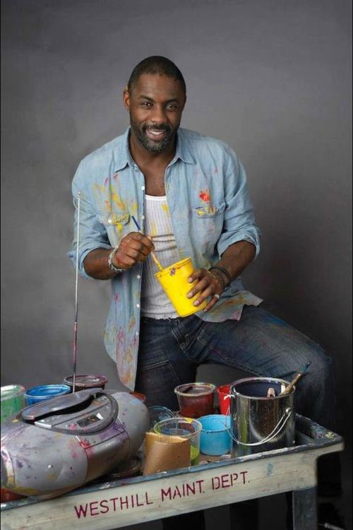 Or dirty paint clothes. | 26 Reasons To Give Your Life Over To The Glory That Is Idris Elba