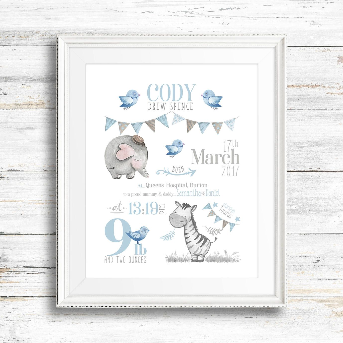 DIGITAL FILE Personalised Print New Baby Girl Boy Wall Art Christening Newborn Baby Gift