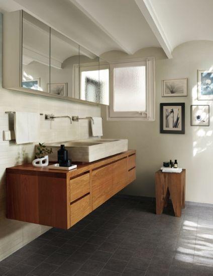 wooden ikea bathroom vanities | natural tone bathroom, wood vanity and dark floor | Timber ...