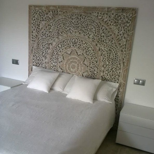 Carved Teak Headboard Panel White Washed Finish King Size T85 13 Headboards For Beds White Paneling King Bed Headboard