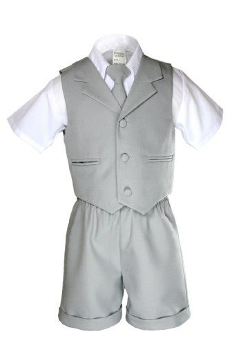 New Silver Gray Infant Boy /& Toddler  Formal Vest shorts Suit New born to 4T
