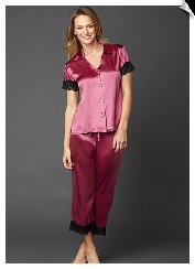 5552e6e94e0d60 Julianna Rae Luxury Tresor Delice Silk Pajamas.  pjs  pajamas  ladies  silk   crop  luxury  juliannarae