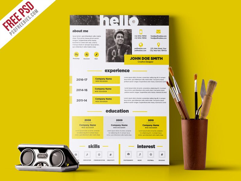 Free Psd  Creative And Elegant Resume Template Psd  Template