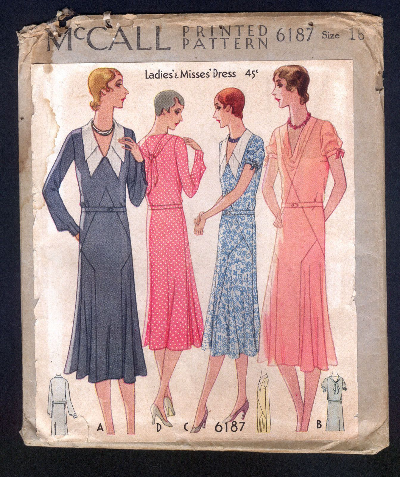 1930 McCall Pattern Ladies\' Double Collared Dress | 1930\'s Patterns ...