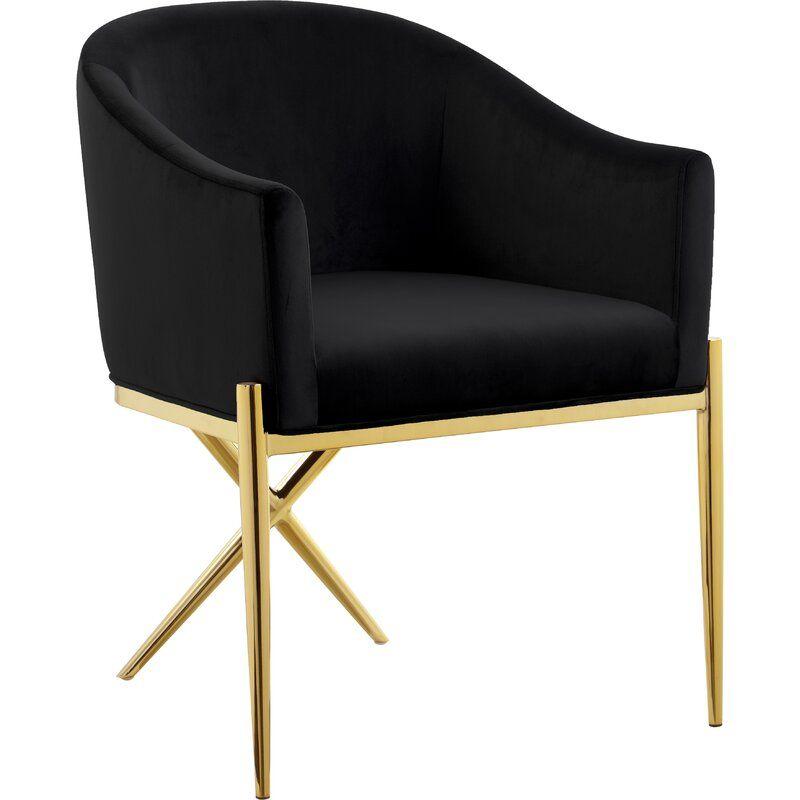 Cesar Velvet Upholstered Arm Chair Upholstered Arm Chair Gold
