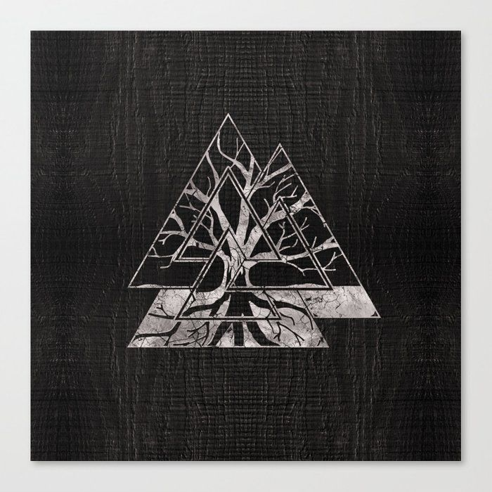 Valknut Symbol and Tree of life -Yggdrasil Canvas Print #vikingsymbols