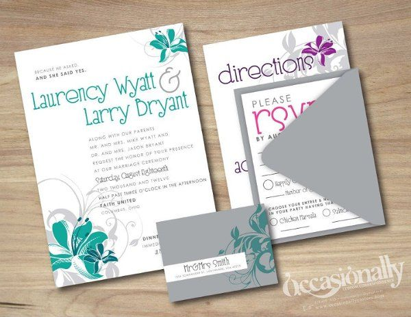 Destination Wedding Hibiscus, Teal, Pink, Purple & Grey Wedding Invitations, Wrap-Around Address Label