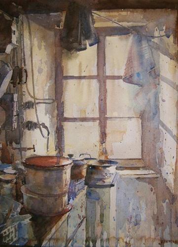 "Daily Paintworks - ""Camilles Kitchen"" - Original Fine Art for Sale - © Nigel Fletcher"