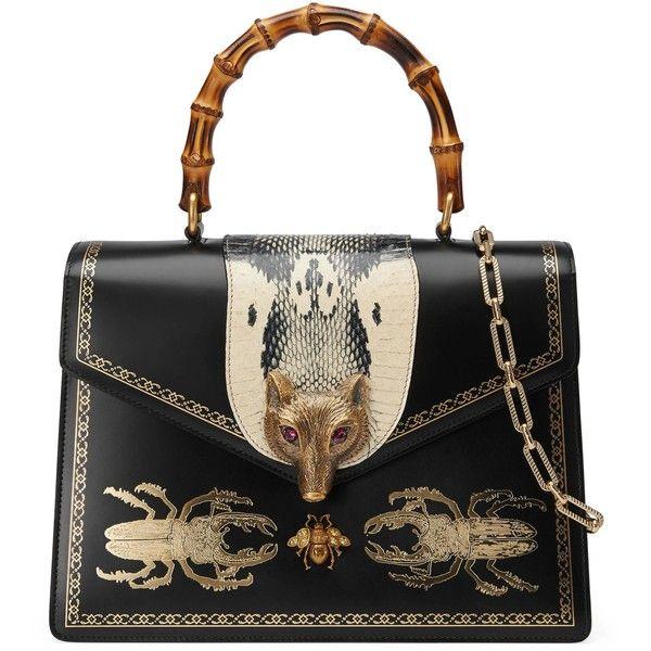 Gucci Broche Medium Beetle Print Top Handle Bag 14 105 Brl Liked On Polyvore Featuring Bags Handbags Genuine Leather Handbag Gucci Purses Mens Leather Bag
