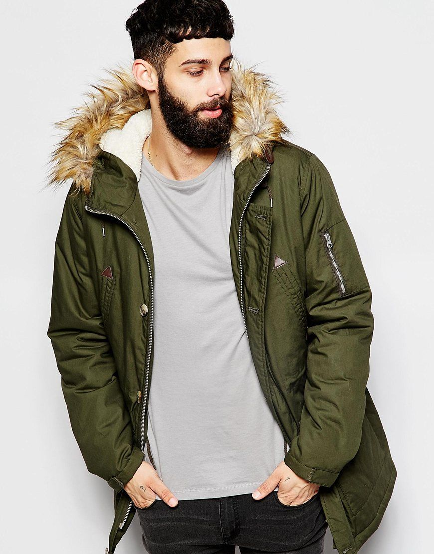 ASOS Parka Jacket With Faux Fur Hood In Khaki | Fashion & Style ...