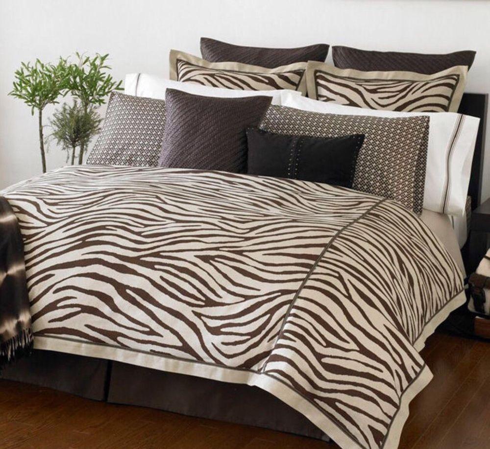Michael Kors Mombasa Zebra Striped 2 King Pillow Shams Tan Brown Safari Chic Michaelkors
