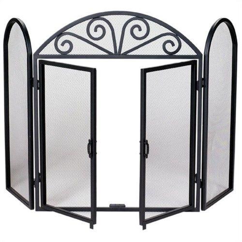 uniflame fireplace screen depot uniflame fireplace screen black wrought iron 3panel with opening doors s1184