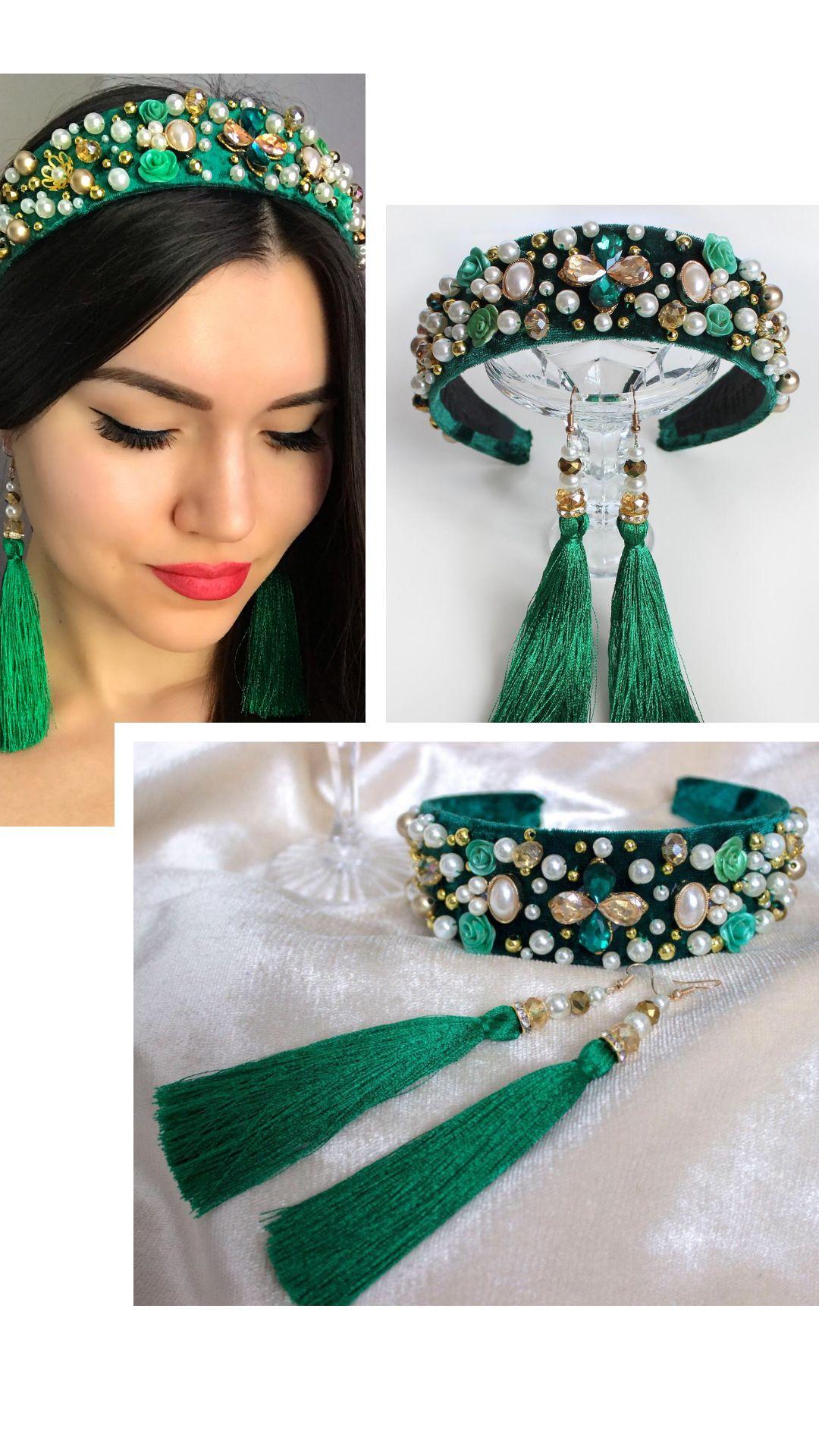 Sparkle Crystal Beads Flower Headband Hair Band Elastic Bridal Headpiece