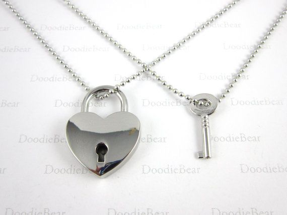 8d80d4f3e6 Couples Necklace - Silver Heart Locket Key - Real Locket - Couples Jewelry  - Friendship - Anniversary - Valentine's Day - Love -Set of 2