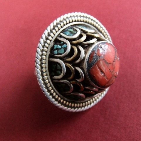 Nepal | Contemporary silver, coral and turquoise ring.