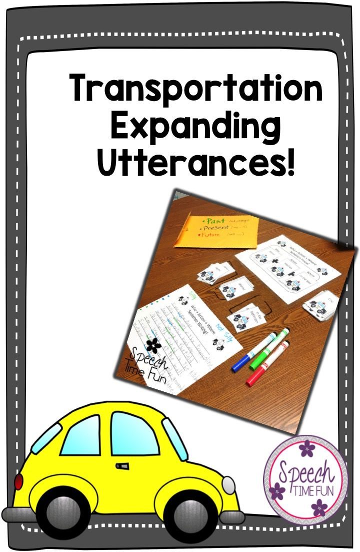 Transportation Expanding Utterances - build sentence structure and work on complete sentences in speech and language therapy